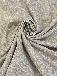Driftwood/White 100% Linen Light-Weight Yarn-Dyed Chambray Linen 58W