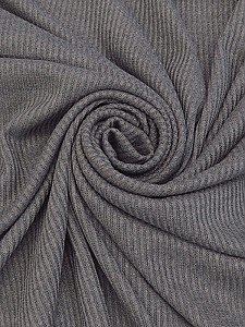 Gray Rayon/Polyester/Lycra Ribbed Sweater Knit - Famous Dress Designer - 58W