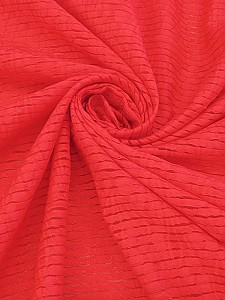 Coral Red Cotton/Nylon Stripe Burnout Shirt Weight Woven - Famous Dress Designer - 56W