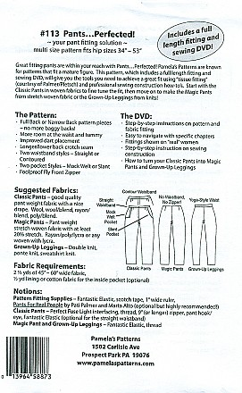 Pamela's Patterns - Pants...Perfected! Pattern & DVD Set - #113