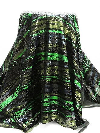 Metallic Gray/Electric Green/Navy 100% Polyester Horizontal Striped Flip Sequins on Netting - Famous Dress Designer- 60W