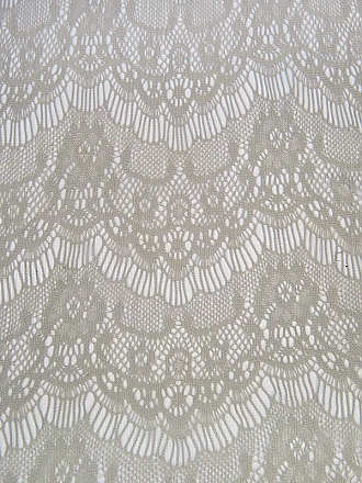 Fossil Gray 100% Polyester Ornate Scalloped Design Crochet Lace 60W