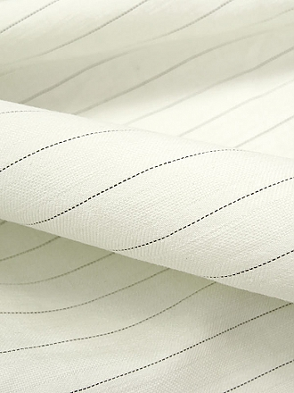 Ivory/Umber Linen/Cotton/Spandex Horizontal Pinstripe Linen Blend Suiting - Imported From Italy - 58W