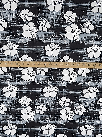 Black/Slate/White 100% Cotton Tropical Floral Print Shirt-Weight Woven 58W