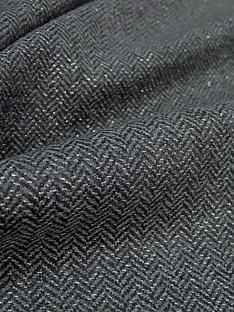 Black/Shadow Gray/Silver Wool/Polyester/Metallic Herringbone Flannel Suiting - NY Designer - 58W