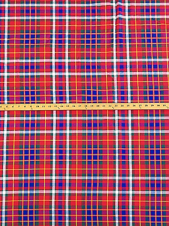 Red/Blue/Yellow 100% Cotton Plaid Twill Mid-Weight Woven - NY Designer - 57W