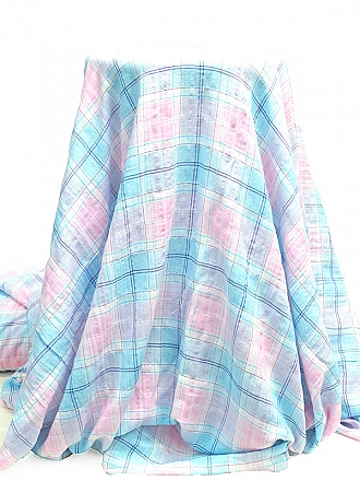 French Rose/Cyan/Off-White/Plum Cotton/Polyester Plaid Yarn-Dyed Twill Voile 57W