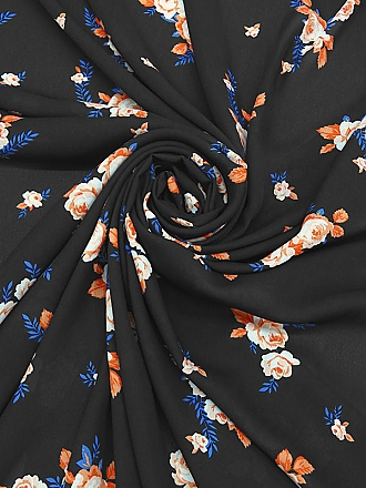 Black/Coral/French Blue 100% Polyester Floral Georgette - NY Designer - 57W