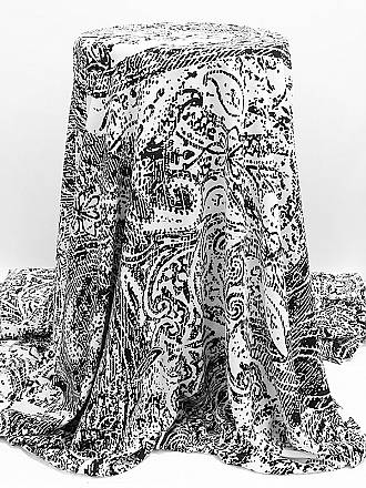 White/Black 100% Polyester Rugged Paisley Print Georgette - NY Designer - 58W