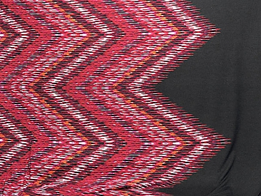 Deep Red/Magenta/Black/Off-White Polyester/Lycra Large Zig Zag Print Hacci Sweater Knit 59W