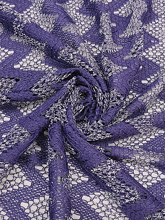 Purple/White 100% Polyester Chevron Design Crochet Knit 50W