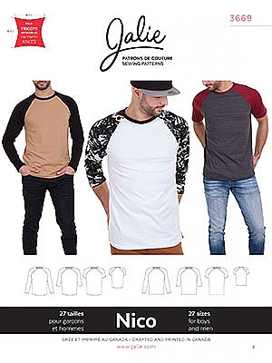 Jalie Patterns - Nico Raglan Tees #3669 - Mens/Boys Sizes
