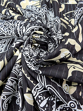 Ecru/Old Brick 100% Silk Crescent Print Chiffon - Imported From Italy - 54W
