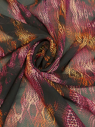 Black/Deep Burgundy/Burnt Orange/Tan 100% Polyester Cable Knit Look Abstract Design Chiffon 58W