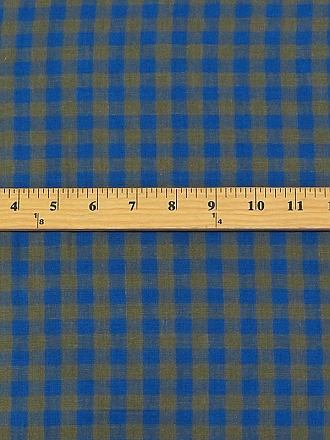 Olive/Cerulean Blue 100% Linen Gingham Shirt Weight Linen - European Linen - 58W