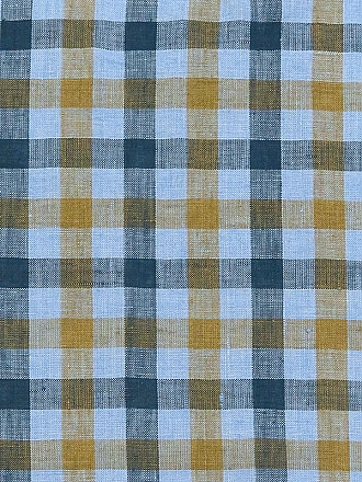 Sky Blue/Navy/Muted Gold 100% Linen Gingham Shirt Weight Linen - European Linen - 58W