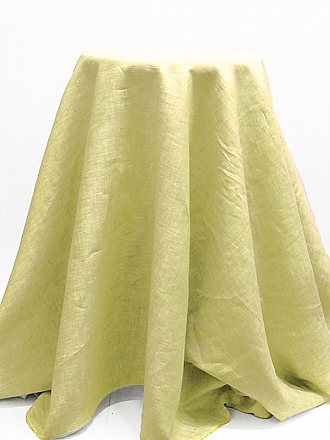 Avocado/White 100% Linen Light-Weight Yarn-dyed Chambray Linen 58W