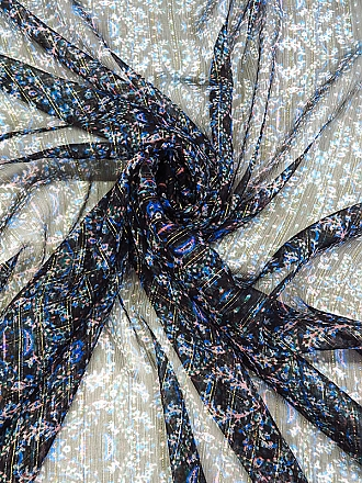 Black/Blue/Gold Silk/Metallic Vertical Stripe Over Mirrored Abstract Print Crinkle Chiffon - NY Designer - 53W