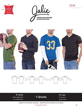 Jalie Patterns - T-Shirts #2918 - Boys/Men Sizes