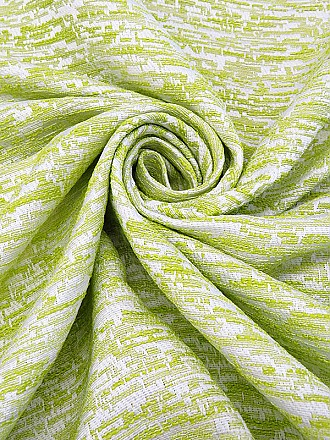 Lime/Pearly White 100% Polyester Abstract Boucle Thread Jacquard Suiting - Famous Dress Designer - 56W
