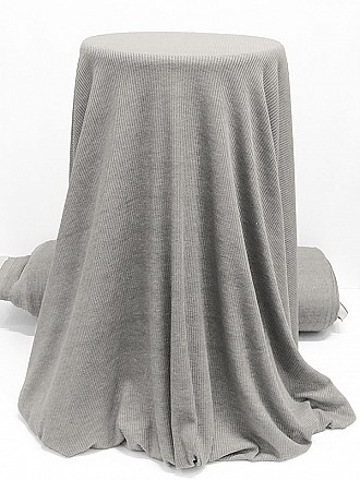 Pebble Gray Rayon/Polyester/Lycra Ribbed Sweater Knit - Famous Dress Designer - 58W