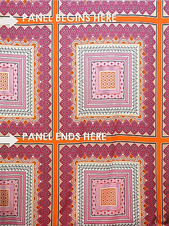 SOLD BY THE PANEL ONLY - Orange/Dim Gray/Deep Hot Pink/Multi 100% Polyester Geometric Crepe de Chine - Famous Dress Designer - 58W