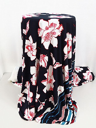 Dark Navy/Cherry/White/Multi Polyester/Lycra Striped Border Floral Print ITY Knit - Famous Dress Designer - 62W