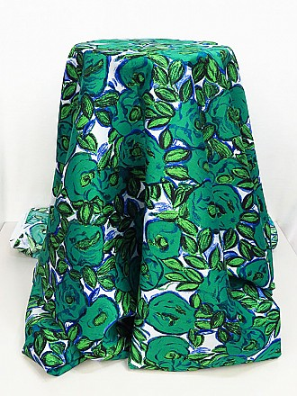 Jungle Green/Blue/White/Multi 100% Polyester Floral Print Shantung - Famous Dress Designer - 56W