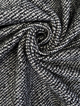 Black/White Wool/Polyester Heavy Twill Weave Coating 58W