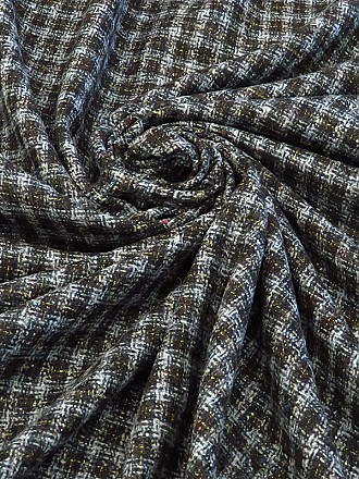Black/Gray/Yellow/Multi Wool/Polyester Blend Tweed Plaid Flannel Suiting 57W