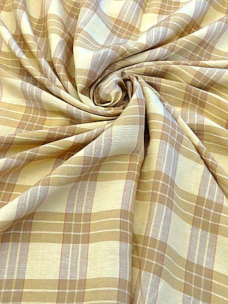 Sand Dollar/Golden Wheat/Tan Linen/Rayon Plaid Woven - Imported From Italy - 57W