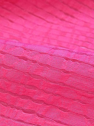 Vibrant Strawberry Pink Cotton/Nylon Burnout Stripe Top-Weight Woven - Famous Dress Designer - 56W