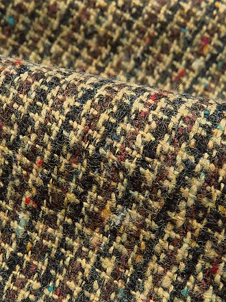 Brown/Black/Tan/Multi Wool/Polyester Blend Boucle Tweed Suiting 58W