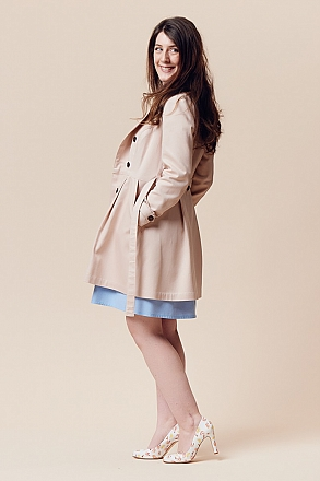 Deer And Doe Patterns - Luzerne Trench Coat #D0024 - Sizes 34-46